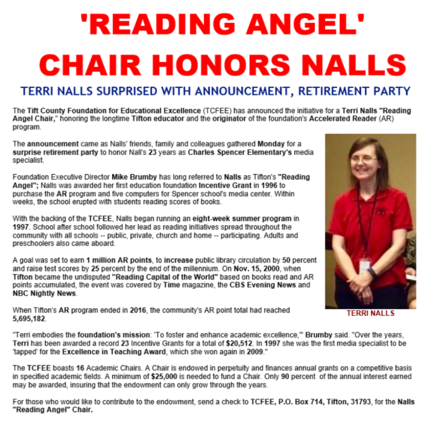 Terri Nalls Reading Angel Chair