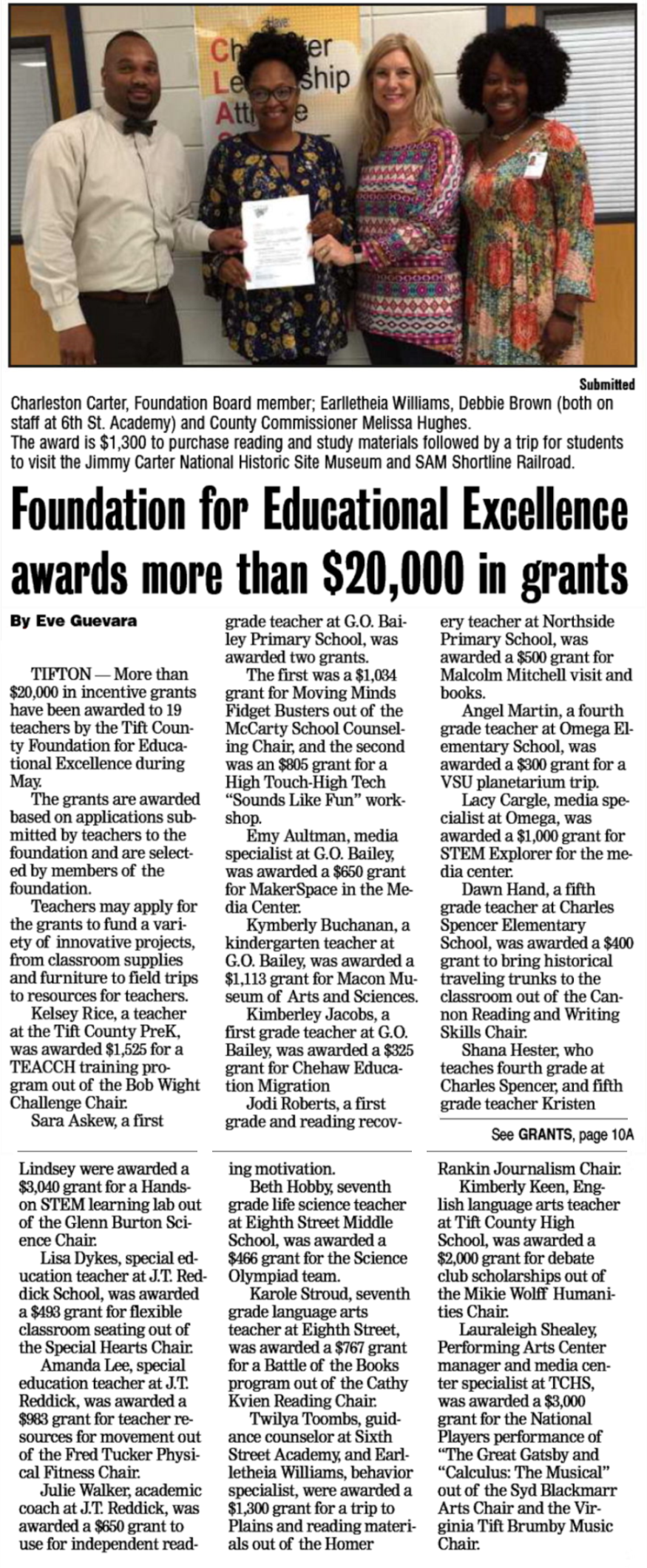 Foundation Awards $20,000